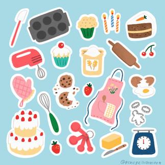 baking cakes sticker set