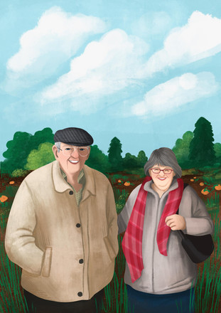 grandad and grandma gift custom portrait