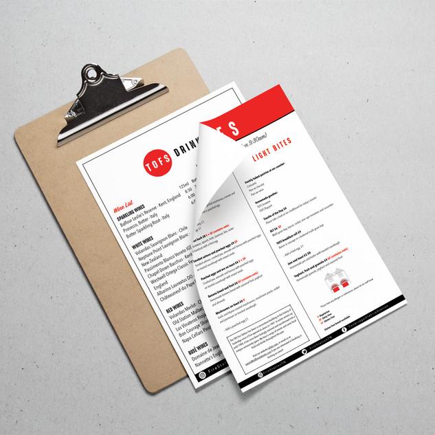 The Old Firestation drinks menu graphic design