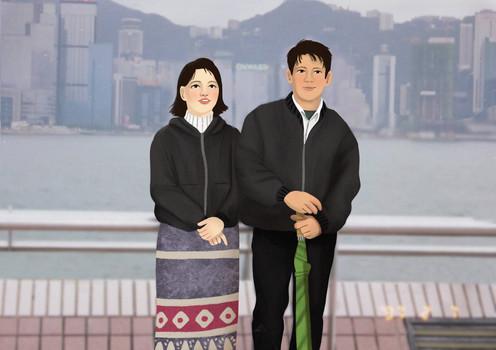 couple illustration family photo portrait