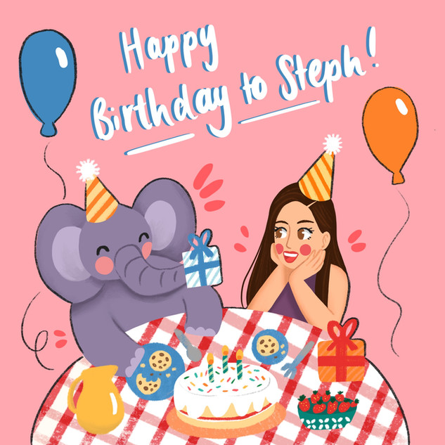birthday illustration for english tuition business