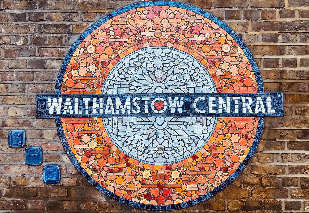 A mosaic of a Tube sign saying Walthamstow Central