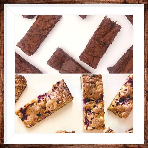 ⭐️ NEW ⭐️ Four Salted Caramel brownies & four Raspberry White Choc Chip blondies