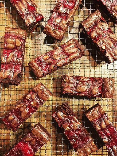 Cocoa May Raspberry & White Choc Chip Brownie (Box of 8)