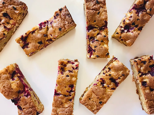 Raspberry & White Chocolate Chip Blondies (Box of 8)