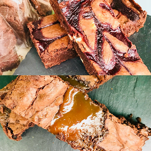 Mixed Box - 4 Salted Caramel & 4 Raspberry & White Chocolate Brownies