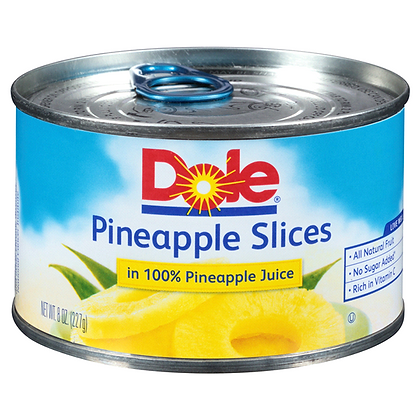 Dole Pineapple Slices in 100% Pineapple Juice (8 oz.)
