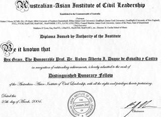 L'Institut Australien Asiatique du Leadership Civil a honoré le comte de Gavaldá