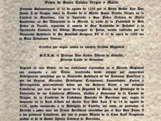Certificat des archives du Grand Maître de l'Ordre de Sainte Eulaliea