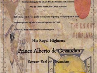 Reconnaissance de l'Ordre du Temple en faveur de Son Altesse Royale et de sa Dynastie