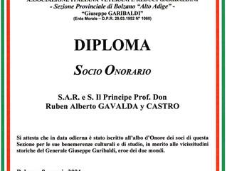 Diplôme honorifique de l'Association Italienne des Vétérans de Garibaldiens
