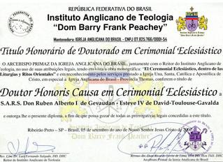 L'Institut Anglican de Théologie accorde une nomination honorifique à Son Altesse Royale