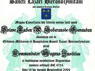 Nomination de Son Altesse Royale dans l'Ordre de Saint Lazare de Jérusalem