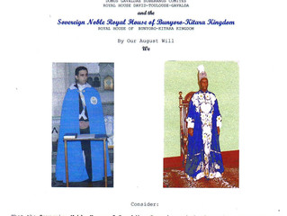 Accord Diplomatique avec la Maison Royale de Bunyoro-Kitara