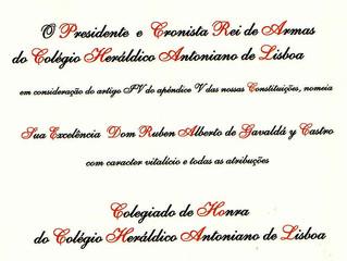 Son Altesse Royale le comte de Gèvaudan est membre à vie du Collège Antoniano Heraldic de Lisbonne,