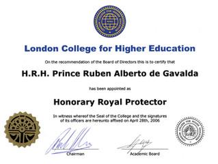 Prince Gavaldá Protecteur Royal Honoraire du Collège de Londres pour l'Enseignement Supérieur