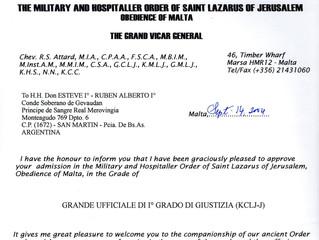 Confirmation de nomination dans l'Ordre Militaire et Hospitalier de Saint-Lazare de Jérusal