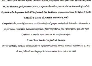 Nomination dans la Fraternité Royale de Saint Teotonio du Portugal