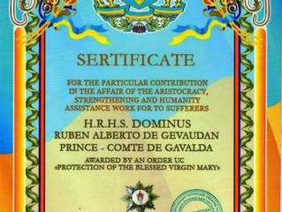 """L'Ordre """"Protection de la Bienheureuse Vierge Marie"""" est décerné au comte du Gévaudan."""