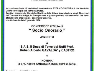 Désignation honorifique dans la Libre Association des Abruzzes - Trentino Alto Adige
