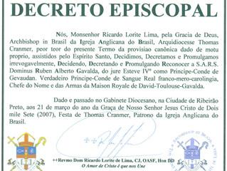 Église Anglicane du Brésil: reconnaissance des Droits Dynastiques