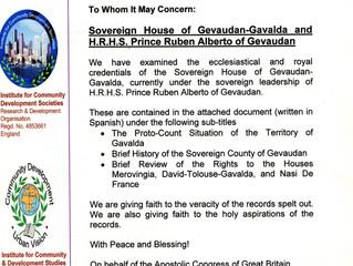 Reconnaissance officielle du Congrès Apostolique de Grande-Bretagne