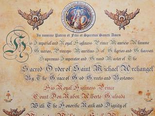 Désignation dans le Saint Ordre de Saint Michel Archange