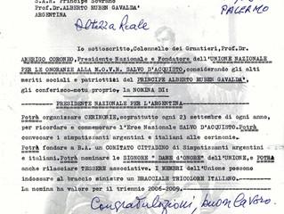 Union italienne pour les honneurs au héros national M.O.V.M Salvo D´Acquisto