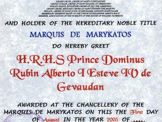 Salutations de l'Exarque d'Amérique du Nord de l'Ordre de Saint Eugène de Trébizonde