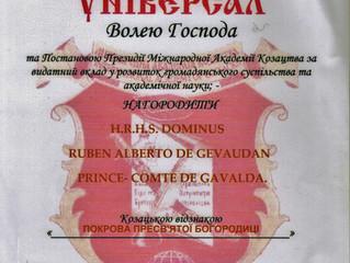 L'Académie Internationale des Cosaques a honoré le comte du Gévaudan.