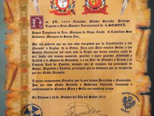 Loyauté et fidélité de l'Ordre des Templiers d'Espagne à la cause de la Maison Royale