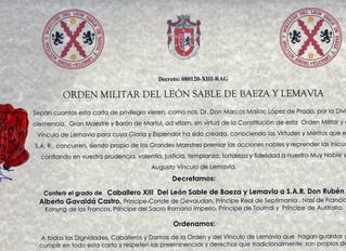 Monseigneur le Prince a reçu l'Ordre Militaire du Lion de Sable de Baeza et Lemavia