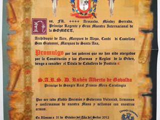 Désignation Chevalier de Justice dans l'Ordre des Templiers d'Espagne