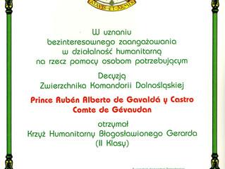 L'Ordre Militaire et Hospitalier de Saint Lazare de Jérusalem distingue le comte du Gévaudan
