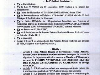 Son Altesse Royale Membre d´Honneur de l´Union Nationale des Ecoles Catholiques du Cameroun