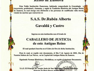 Désignation dans le Estamento de Hijosdalgo del Antiguo Reino de Zamora, Espagne