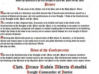 Nomination du prince Rubén Alberto dans la Confraternité des Chevaliers de Saint Pierre et Saint Pau