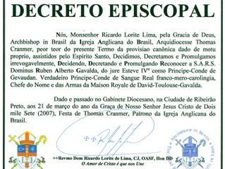 Reconnaissance de l'Église anglicane au Brésil