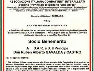 L'Association Italienne des Combattants Interalliés a honoré le prince Gavaldá.