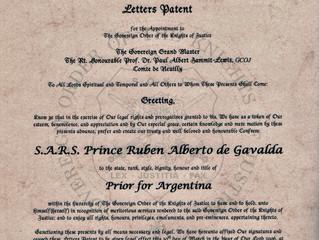 Nomination dans l'Ordre Souverain des Chevaliers de Justice