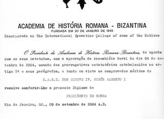Présidence d'honneur de l´Académie d'Histoire Romaine Byzantine