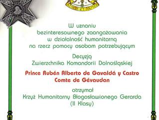 L'Ordre de Saint Lazare de Jérusalem distingué Son Altesse Royale