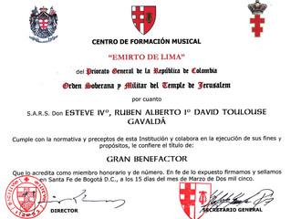 Le comte de Gavaldá, Grand Bienfaiteur du centre de formation musicale des templiers