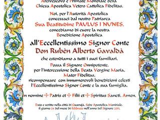 Bénédiction du Primat de l'Église Apostolique Vetero Católica Fidelitas