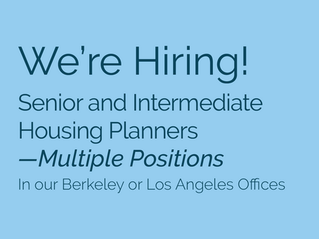We're Hiring—Multiple Positions! Seeking Housing Planners/Specialists to join our team.