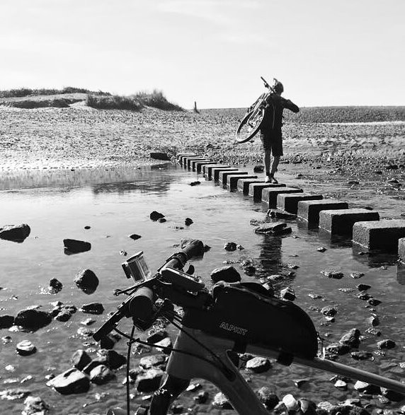stepping stones on Gower mountain bike route