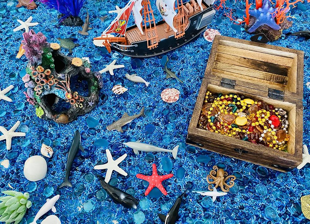 Ocean Sensory bin with sea creatures