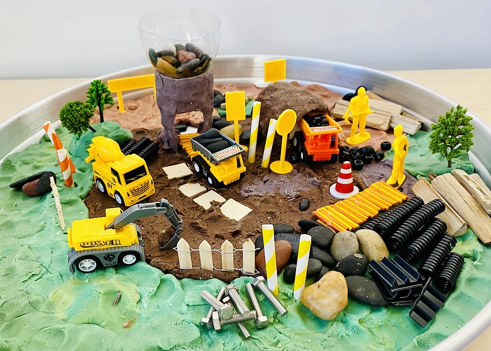 Play dough construction site