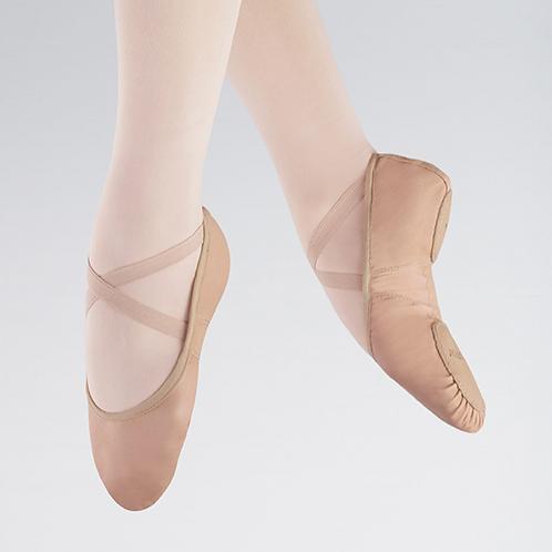 Pink leather, split sole ballet shoe