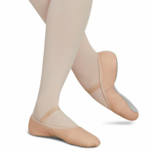 Pink leather, full sole ballet shoe